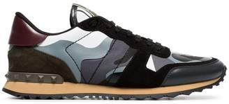 Valentino black, grey and green rockrunner leather sneakers