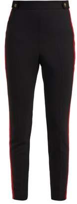 Alexander McQueen Grosgrain Trim Wool Blend Trousers - Womens - Black Red
