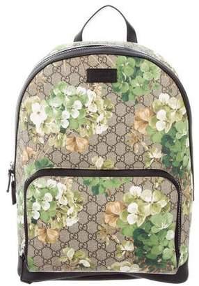 Gucci GG Supreme Backpack GG Supreme Floral Print Beige/Ebony/Green