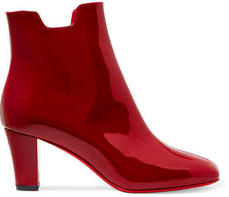 Christian Louboutin - Tiagada 70 Patent-leather Ankle Boots - Claret $945 thestylecure.com