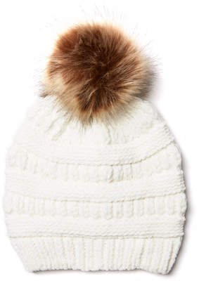 David & Young Cable Knit Chenille Pom Beanie