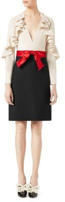 GucciGucci Ruffle-Sleeve Silk & Wool Bow Dress
