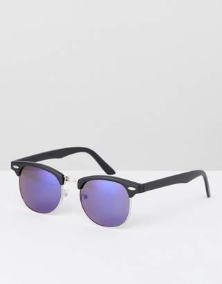 Asos DESIGN retro sunglasses with blue mirror lens