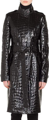 Akris Punto Stand-Collar Button-Front Crocodile Embossed Patent Faux-Leather Coat