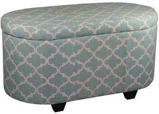 "Ore International 18.7""H Moroccan Clover Teal Storage Ottoman Plus Extra Seating"