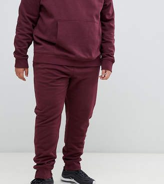 New Look Plus joggers in burgundy