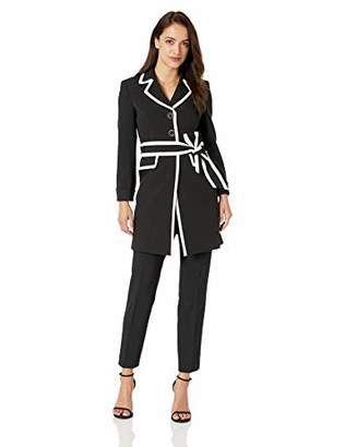 Le Suit Women's Petite 3 Button Notch Collar Jacket W/TIE Belt and Matching Pant