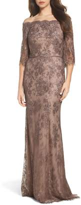 La Femme Off the Shoulder Lace Gown