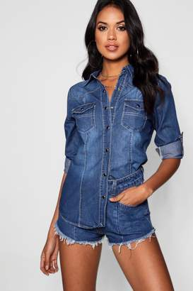 boohoo Long Sleeve Slim Fit Denim Shirt