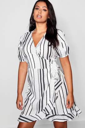 boohoo Plus Stripe & Polka Dot Ruffle Wrap Dress