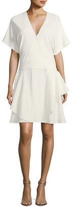Halston Short-Sleeve Drop-Waist Ponté Dress