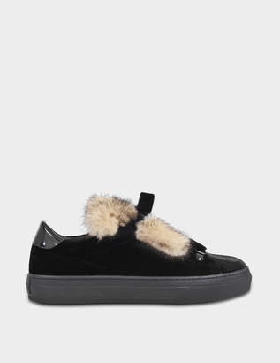 Tod's Sporty velvet and fox sneakers