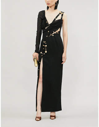 Versace Safety pin-detail stretch-jersey and crepe maxi dress
