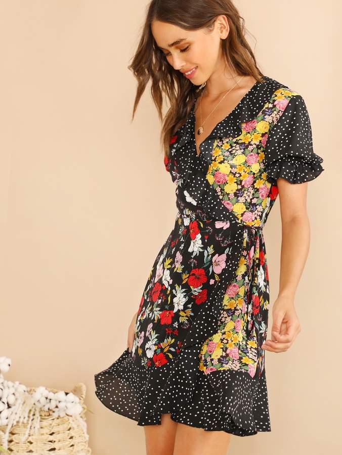 Shein Ruffle Trim Polka Dot & Floral Wrap Dress