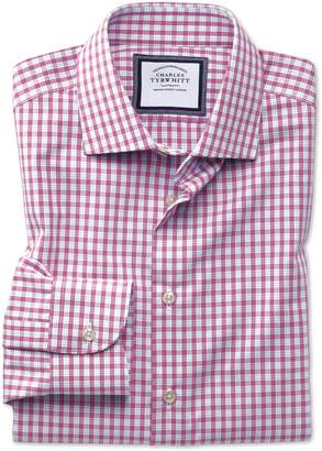 Charles Tyrwhitt Slim Fit Semi-Spread Collar Non-Iron Business Casual Pink Check Cotton Dress Shirt Single Cuff Size 15/34