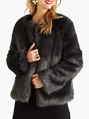 Longhair Faux Fur Coat, Grey