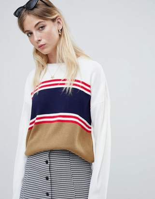 Daisy Street relaxed jumper with vintage stripe panels