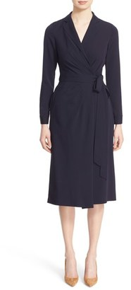 Women's Nordstrom Signature And Caroline Issa Satin Georgette Wrap Dress $799 thestylecure.com