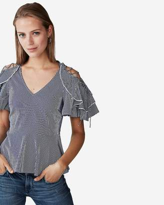 Express Striped Lace-Up Shoulder Blouse