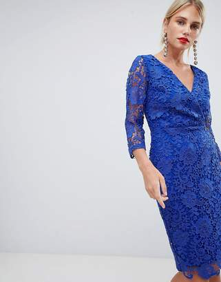 Paper Dolls crochet lace wrap front pencil dress in bright blue