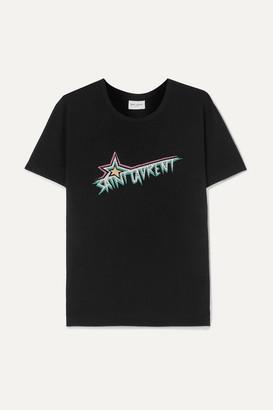 Saint Laurent Printed Cotton-jersey T-shirt - Black