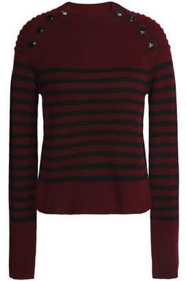 Autumn Cashmere Button-Detailed Striped Cashmere Sweater
