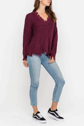 Lush Frayed Hem Sweater