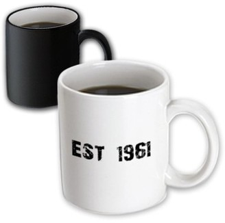 3dRose Grunge Est Established in 1961 - Sixties Baby Born Child of the 60s - Personal custom birth year - Magic Transforming Mug, 11-ounce