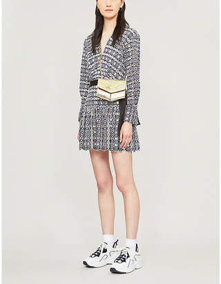 Sandro Chain-link pattern waist-tie lace dress