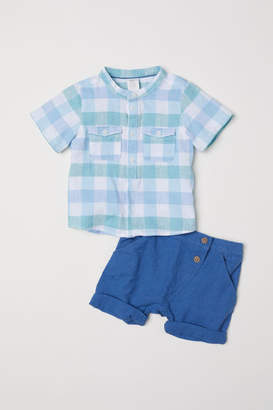 H&M Band-collar Shirt and Shorts - Green