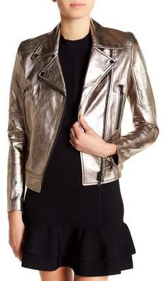 Veronica Beard Metallic Biker Leather Jacket
