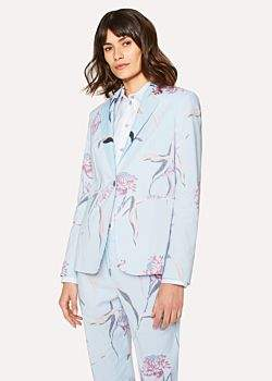 Paul Smith Women's Light Blue 'Pacific Rose' Print Linen-Blend Blazer
