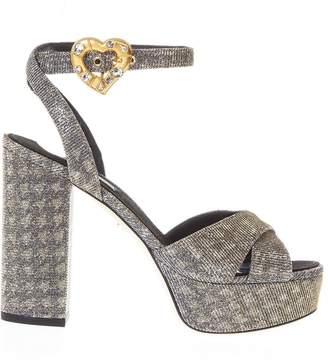 Dolce & Gabbana Grey & Gold Tweed Printed Fabric Platform