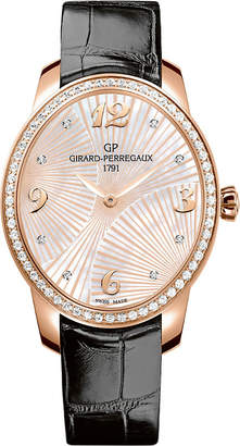 Girard Perregaux GIRARD-PERREGAUX 80493D52A763-CK6A Cat's Eye alligator-leather, 18ct rose-gold and diamond watch
