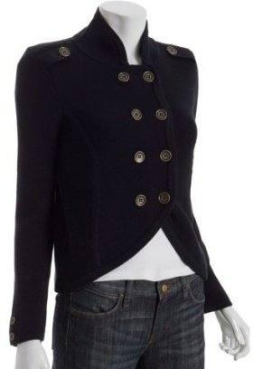 Qi navy cotton knit military jacket