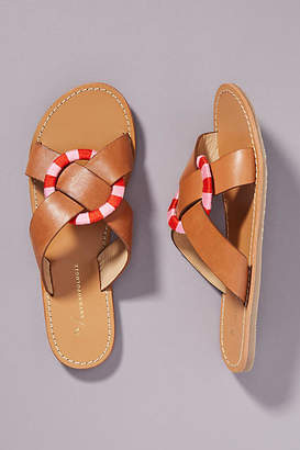 Anthropologie Sara Criss-Cross Slide Sandals