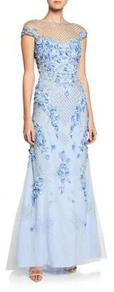 Theia Beaded & Floral Embroidered Cap-Sleeve A-Line Gown