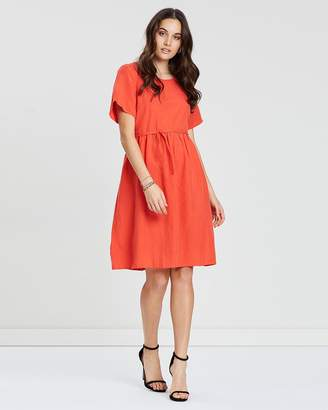Privilege Gathered Waist Midi Dress