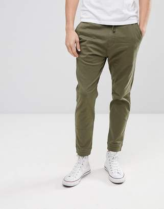 Hollister Cuffed Twill Stretch Jogger In Forest Night Olive