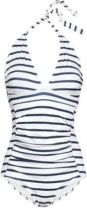 Ganni Ruched Striped Halterneck Swimsuit