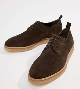 Asos (エイソス) - ASOS DESIGN lace up shoes in brown suede with wedge sole