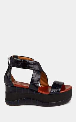 Chloé Women's Stamped-Leather Wedge Platform Sandals - Navy
