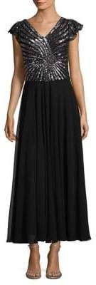 J Kara Sequined V-Neck Gown