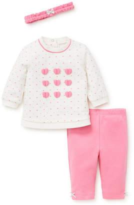 Little Me Baby Girls Hearts 3pc Sweatshirt Set with Headband