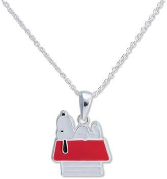 Snoopy Peanuts Doghouse Brass Enamel Pendant Necklace