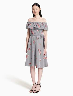 Calvin Klein flower off-shoulder tie belt dress