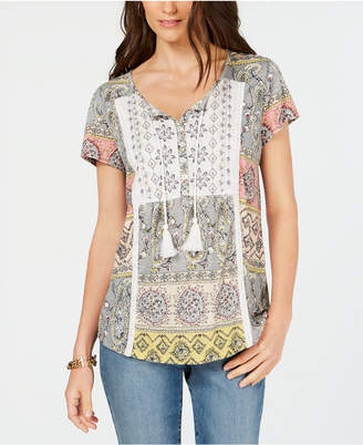 Style&Co. Style & Co Mixed-Print Crochet-Trim Peasant Top