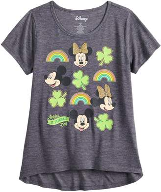 Disney Girls 7-16 & Plus Size Mickey & Minnie Mouse St. Patrick's Day Graphic Tee