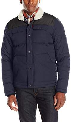 Levi's Men's Quilted Mixed Media Shirttail Workwear Puffer Jacket