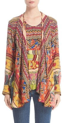 Women's Etro Ribbon Print Silk Faux Shawl Top $1,420 thestylecure.com